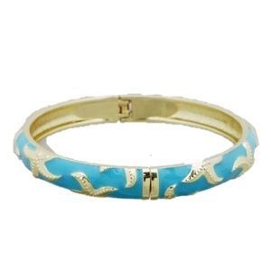 Turquoise Starfish Enamel Bangle Hinge Bracelet